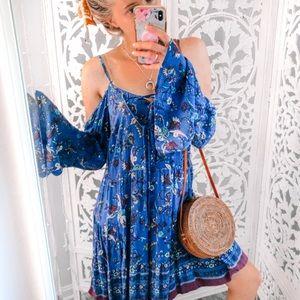 Bohemian Blue Bell Sleeve Dress